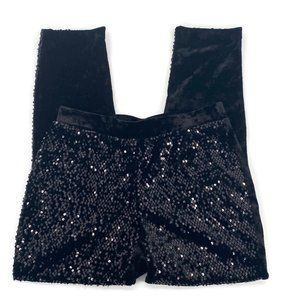 Chico's Sequins and Panne Black Velvet Tapered Ank